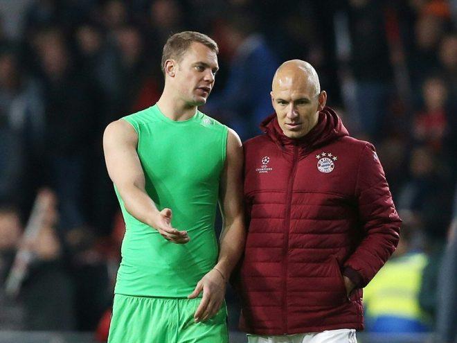 Manuel Neuer (li.) und Arjen Robben fallen weitehrin aus
