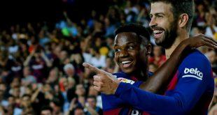 Ansu Fati (l.) und Pique trafen für Barcelona