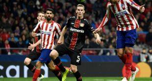Alvaro Morata (r.) trifft gegen Bayer Leverkusen