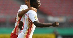 Amadou Haidara erzielt den Führungstreffer für Leipzig