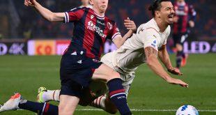 Harte Arbeit in Bologna: Milans Zlatan Ibrahimovic